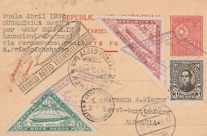 Paraguay zeppelin card South America flight April 1932 to Germany!