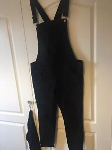 Womens Size 16 Black Maternity Denim Dungarees