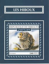 Djibouti 7519 - 2017  BIRDS -  OWLS imperf deluxe sheet unmounted mint