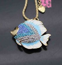 A586L     Betsey Johnson Crystal Enamel Goldfish Pendant  Chain Necklace