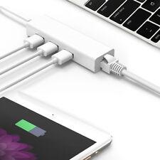Adaptateur Réseau USB-C à LAN RJ45 Gigabit Ethernet Hub USB 3 Ports pr MacBook