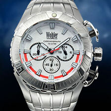 NEW Wohler Cohen 1230M Men's Chronograph SS Watch White Dial Face Red Accents