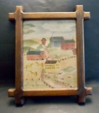 vintage original Unsigned Folk Art Watercolor mixed media landscape painting