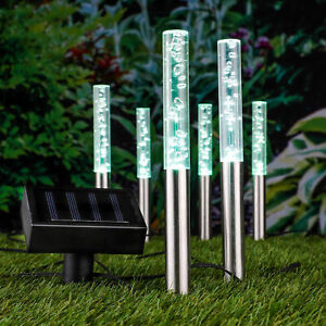 LED Solar Leuchte BUBBLES - 6er - Gehweg Party Lampen Leuchtstäbe Garten Deko