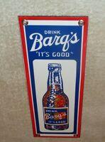 "VINTAGE ""DRINK BARQ'S ROOT BEER IT'S GOOD"" 12"" PORCELAIN METAL SODA POP GAS SIGN"