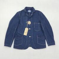 BOB DONG Vintage Wabash Indigo Railroad Jacket Men Striped 13oz Work Jackets 44