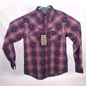 NEW WRANGLER Retro mens sz M red/blue plaid western shirt/gray pearlized snaps