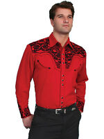 Men's New Scully Floral embroidery Western Cowboy Rodeo Shirt Red
