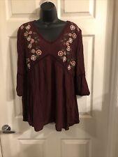 Arizona Jean company 3/4 Sleeve Top. Maroon W/ Embroidered Flowers.L. D-16
