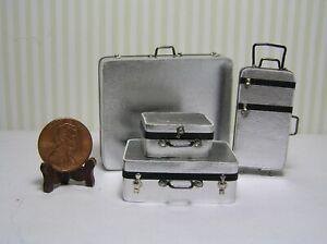 "Miniature Dollhouse 4 Pc set Silver Metallic w/ black tape trim  1"" scale"