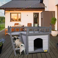 Wooden Dog House Shelter Pet Cat Room w/ Stair Balcony Waterproof Indoor Outdoor