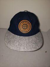 VTG American Eagle Strapback Hat Baseball Cap Heritage Gray Blue Leather Patch