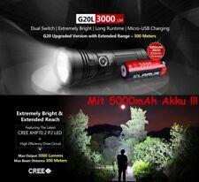 Klarus G20L Power Taschenlampe 3000 Lumen USB Aufladbar + Akku + Kabel + Halter