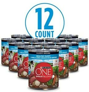♨️(12 Cans) 13 oz Purina ONE Wet Puppy Dog Food, Lamb & Long Grain Rice,Ground♨️