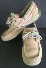 Sperry Top Siders Girls Size 3 Tan Striped Print Boat Shoes TOPSIDER