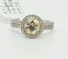 2.27 Ct Round Diamond & Canary Moissanite 14k White Gold Halo Engagement Ring