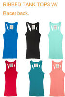Women's Ribbed Must Have Tank Top with Racerback, Many Colors, S, M, L
