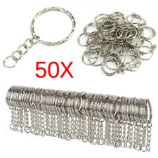 50X DIY 25mm Polished Silver Keyring Keychain Split Ring Short Chain Key Ring LN
