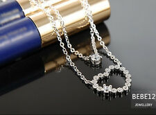 White Gold Plated/Clear Swarovski Crystal/Heart Earring/Necklace/E409/N438/S033
