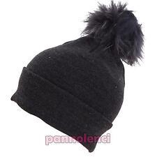 Sombrero de mujer tejido punto invierno POMPÓN piel gorra nuevo M1056