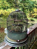 Estate Antique Victorian 1920s Original Beehive Bird Cage Green Paint