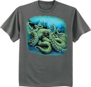 Octopus T-shirt Mens Gifts Graphic Tees Clothing Nature Wildlife Ocean Shirts