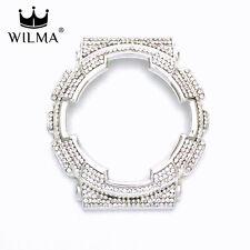 WILMA Chrome Silver Bling Metal Bezel x White Crystal FOR G-Shock GA-110 GD-100