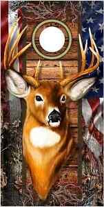 Trophy Deer Camo Flag LAMINATED Cornhole Wrap Bag Toss Skin Decal