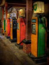Composizione DI FOTOGRAFIA VINTAGE GAS pompe di benzina GARAGE art print poster mp3455b