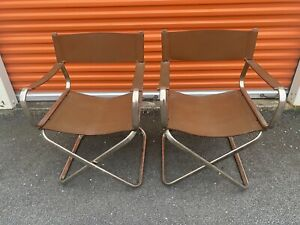 Arrben Italian Brown Leather Folding Director's Chairs