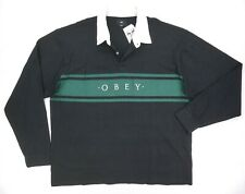 NEW MENS OBEY BLACK EMBROIDERED LONG SLEEVE HERO CLASSIC POLO SHIRT SIZE 2XL