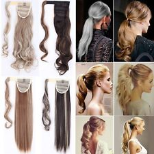 Blond Grau Pferdeschwanz Zopf Party Glatt Gelockt Haarverlängerung Haarteil Haar
