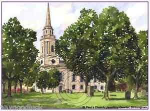 "ST.PAUL'S CHURCH JEWELLERY QUARTER BIRMINGHAM ARTISTS GREETINGS CARD 8""x 6"""