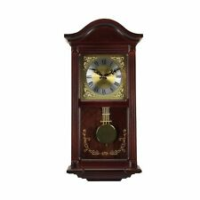 Bedford Clock Collection Mahogany Wall Clock with Pendulum and Chimes, Cherry...