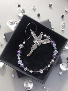 Crystal Tinkerbell Hanging Ornament Purples Gift Box & card Sun Catcher Birthday