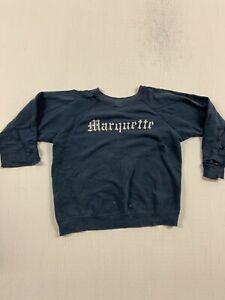 VINTAGE 1950's thrashed trashed MARQUETTE crewneck sweatshirt Small VINTAGE