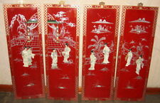 FOUR WOOD PANELS with ASIAN GEISHA ART MOTHER OF PEARL DESIGN