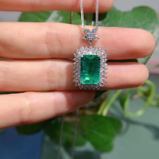 "8.00 CT Emerald & Diamond Pendant Necklace With 18"" Chain In 14K White Gold Over"