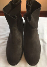 M&S Ladies Grey Suede Leather Ankle Boots with back zip, size UK 4; EU 37