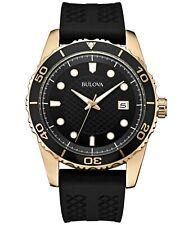 Bulova Men's Quartz Calendar Black Dial Black Silicone Strap 43 mm Watch 98B261