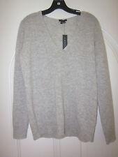 NWT $265Theory Adrianna RL Cashmere V-Neck Sweater Light Heather, Medium