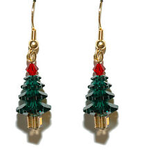 SWAROVSKI CRYSTAL CHRISTMAS TREE DANGLE EARRINGS (H055)