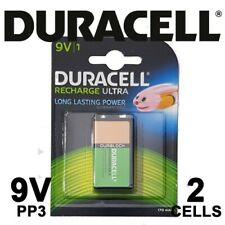 2x Duracell Recharge Ultra PP3 9V Rechargeable Batteries