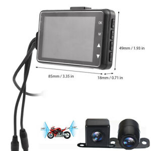 Motorcycle DVR Dash Cam Front Rear View Camera Video Recorder 140° Wide Angle