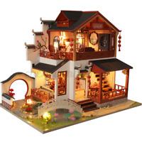 DIY Wooden Doll House Miniature Furniture Kit w/ LED Light&Dust Cover Kids Gift