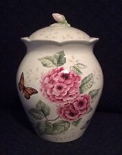 "NEW Lenox Butterfly Meadow Pink 9"" Canister Cookie Jar 1500 Limited Edition"