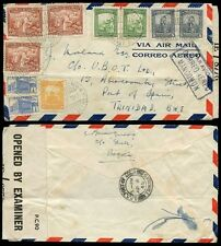 COLOMBIA to TRINIDAD 1945 CENSORED AIRMAIL 10 stamps FRANKING