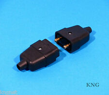 2 Pin Power Connector 10A Black Cable Lead Rubber Plug & Socket
