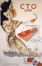 """""""CTO LINE Paquebot TOHORO"""" Affiche originale entoilée Litho 1960 BRENET 68x101cm"""