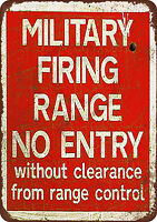 Military Firing Range vintage reproduction metal sign 8 x 12